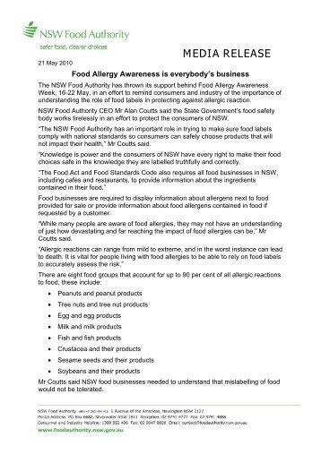 Food Allergy Awareness is everybody's business - NSW Food ...