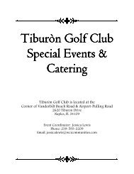 Tiburòn Event Bar Information - Tiburon Golf Club