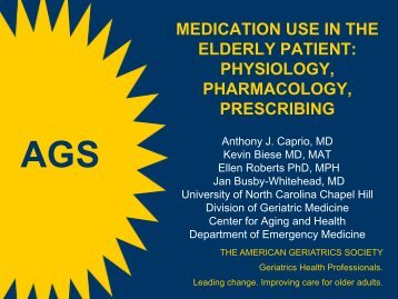 medication use in the elderly patient - American Geriatrics Society