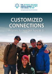 CUSTOMIZED CONNECTIONS - The Jewish Agency For Israel