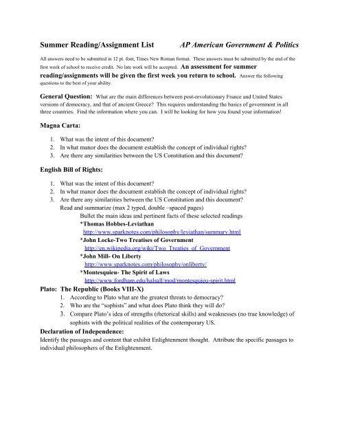 Summer Reading/Assignment List AP American Government & Politics
