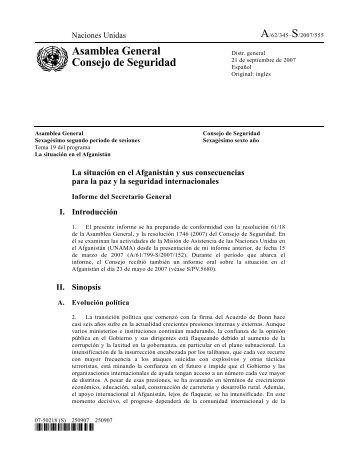 Informe del Secretario General sobre la situación en el ... - Acnur