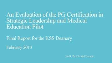 2012 PG Cert Evaluation Final Report - KSS Deanery
