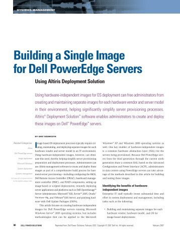 Building a Single Image for Dell PowerEdge Servers Using Altiris ...
