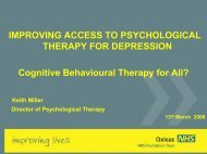 IMPROVING ACCESS TO PSYCHOLOGICAL THERAPY FOR ...