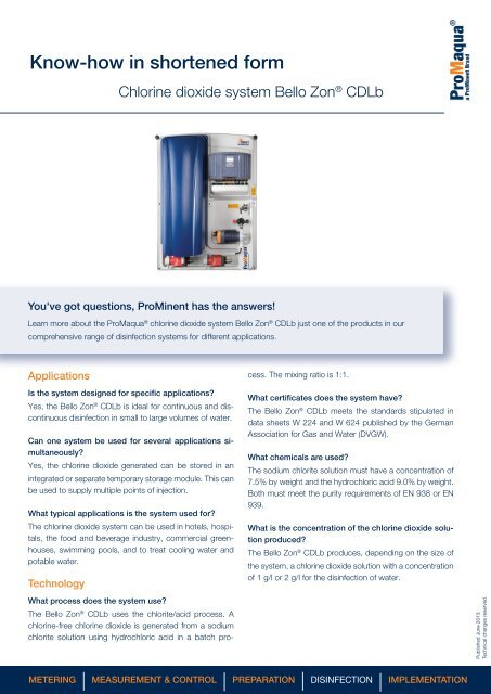 Chlorine dioxide system Bello Zon® CDLb - ProMinent