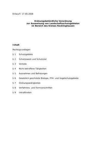 Entwurf des Satzungstextes - Kreis Recklinghausen