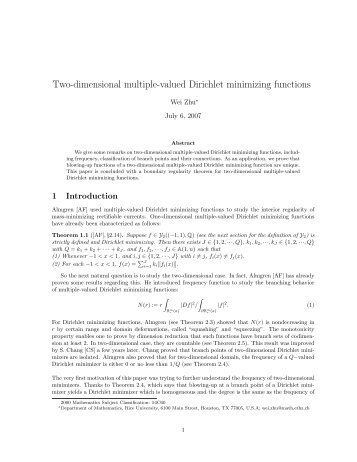 Two-dimensional multiple-valued Dirichlet minimizing functions