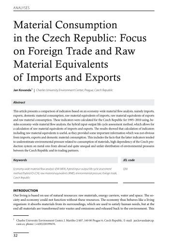 Material Consumption in the Czech Republic: Focus on Foreign ...