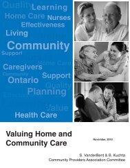 Valuing Home & Community Care - Ontario Home Care Association