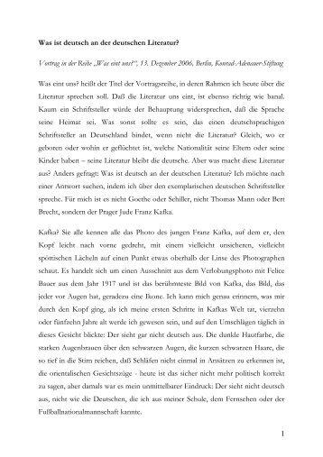 1 Was ist deutsch an der deutschen Literatur ... - Navid Kermani