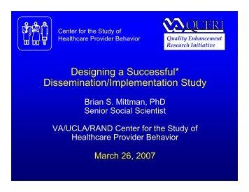 Designing a Successful* Dissemination/Implementation Study