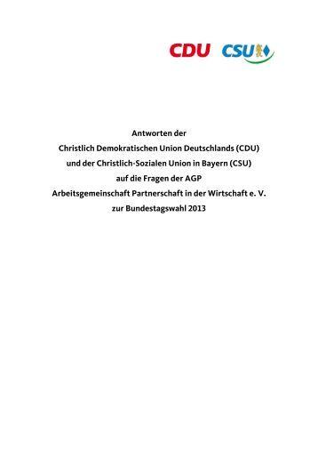 Antworten der Christlich Demokratischen Union Deutschlands ... - AGP