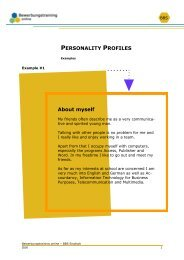 PERSONALITY PROFILES About myself - Bewerbungstraining Online