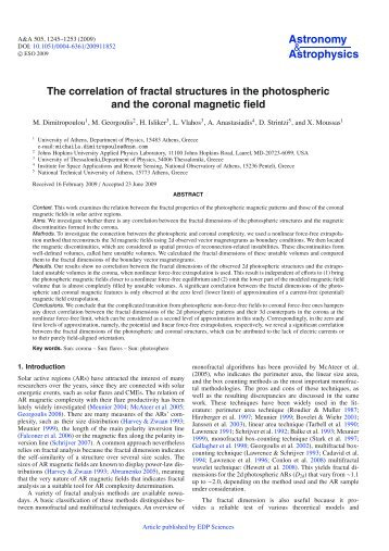 The correlation of fractal structures in the photospheric and the ...