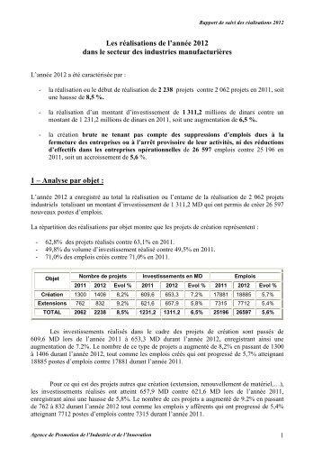 Réalisations 2012 - Tunisie industrie
