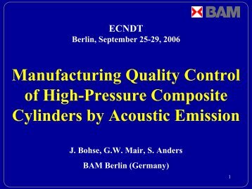 Manufacturing Quality Control of High-Pressure Composite Cylinders