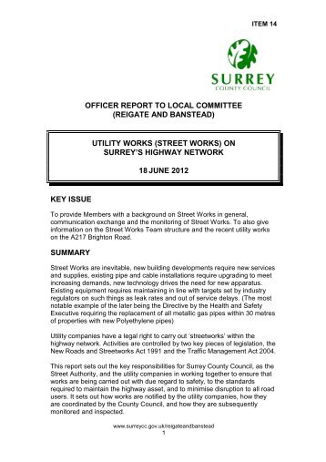 utility works - Surrey County Council