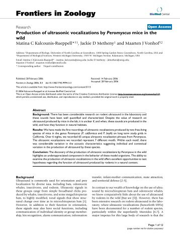 Production of ultrasonic vocalizations by Peromyscus mice in the wild