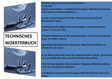 Newsletter Lehrmittel-Wagner: Leseprobe deutsch-englisch Technisches Woerterbuch Mechatronik