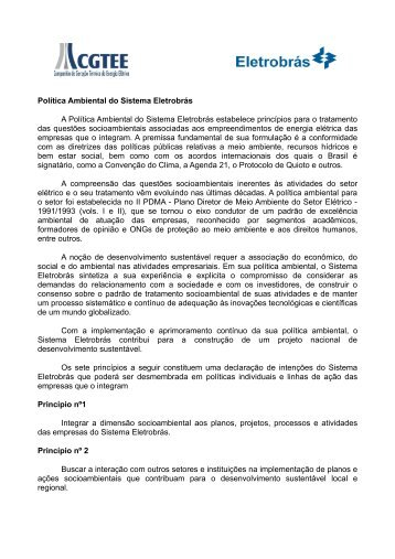 Política Ambiental do Sistema Eletrobrás A Política ... - cgtee