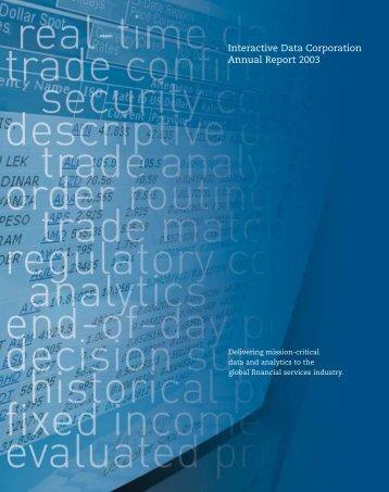 Interactive Data Corporation Annual Report 2003