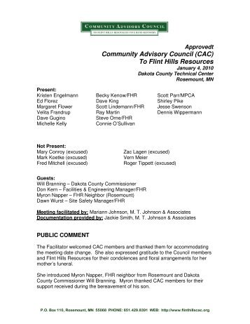 community advisory council Welcome to the community advisory council for flint hills resources pine bend refinery the community advisory council (cac.
