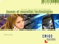 Jeunes et nouvelles technologies - Crioc