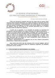 La reprise d'entreprise, les précautions juridiques à ... - CCI du Jura