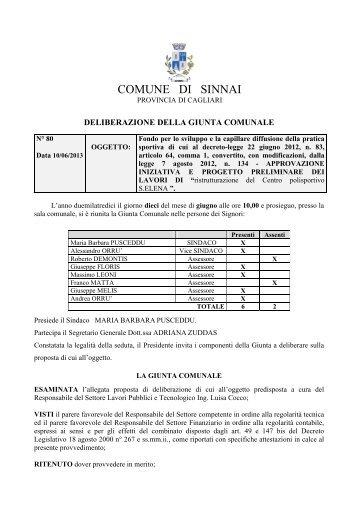 settore lavori pubblici e tecnologico - Comune di Sinnai