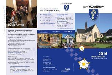 Jahresprogramm 2014 zum Download (pdf) - Abtei Marienstatt