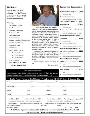 Emilio Fabbri Memorial Golf Classic - Lakeview Hills Golf Resort