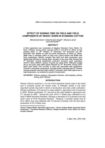 effect of sowing time on yield and yield components of wheat sown ...