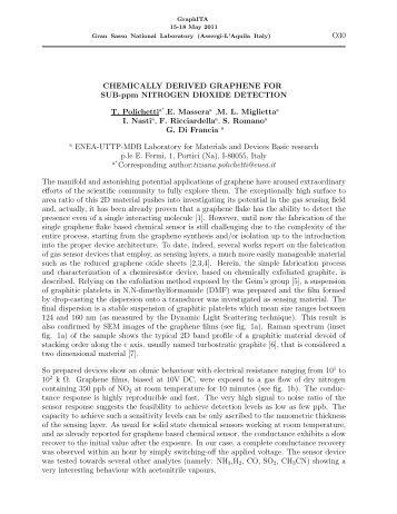 Chemically Derived Graphene For Sub-ppm Nitrogen ... - GraphITA