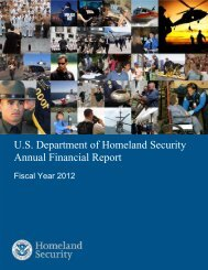 DHS FY 2012 Annual Financial Report - Homeland Security