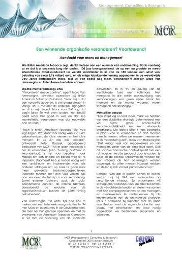 nterview Marc Van Herreweghe (British American Tobacco) - Mcr Bvba