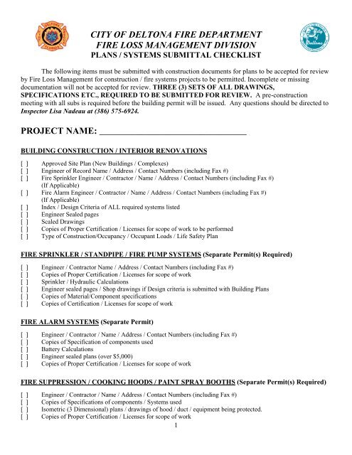 Plans Submittal Checklist - City of Deltona, Florida