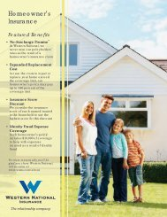 Homeowner's brochure - Western National Insurance Group