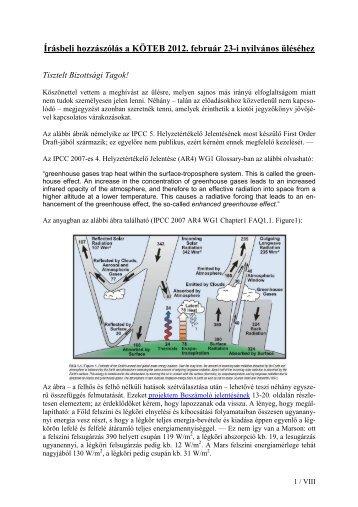 Írásbeli hozzászólás a KÖTEB 2012. február 23-i nyilvános üléséhez