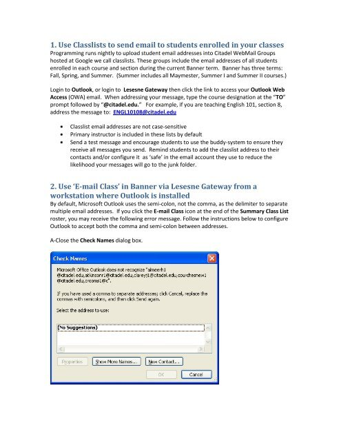 1 Use Classlists To Send Email To Students Enrolled In