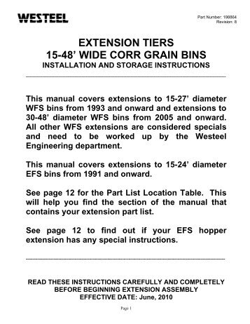 198864 WC Extension Tier INSTALLATION ... - Westeel