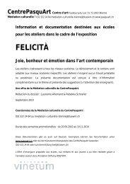 FELICITA - Joie, bonheur et émotion dans l'art ... - Centre PasquArt