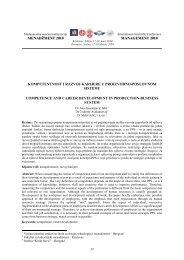 kompetentnost i razvoj karijere u proizvodno-poslovnom sistemu