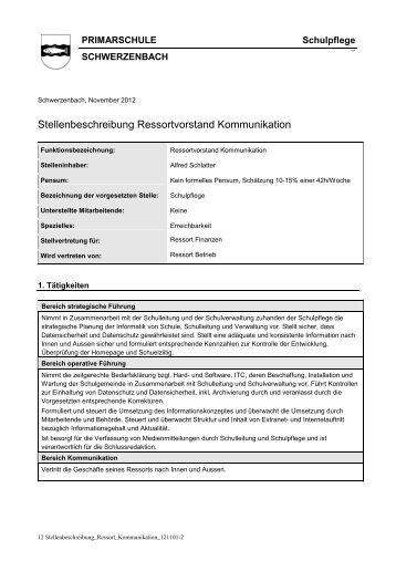 Stellenbeschreibung Ressortvorstand Kommunikation - Schulen ...