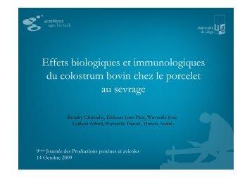 Effets biologiques et immunitaires du colostrum bovin sur le ... - FACW