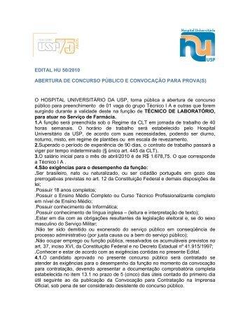 Edital Completo - Hospital Universitário – USP
