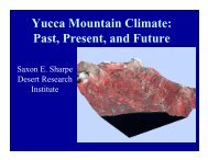 Briefing: Yucca Mountain Climate: Past, Present, and Future