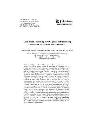 Case-based Reasoning for Diagnosis of Stress using - ibai Publishing