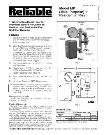 Model F1 Residential Sprinklers - Reliable Automatic