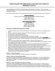 Residency Petition Form - Coppin State University Homepage